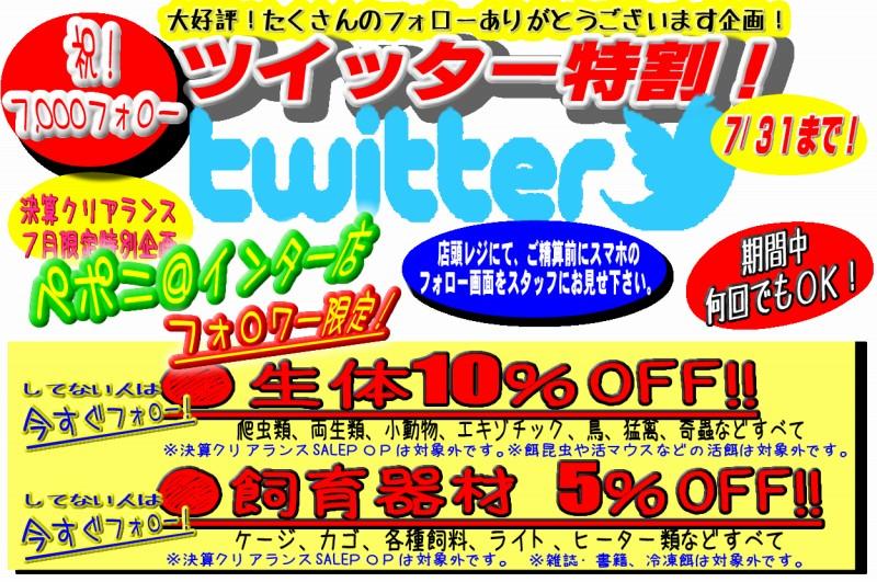 ペポニ@インター店7,000フォロワー突破記念!ツイッター特割も同時始動!