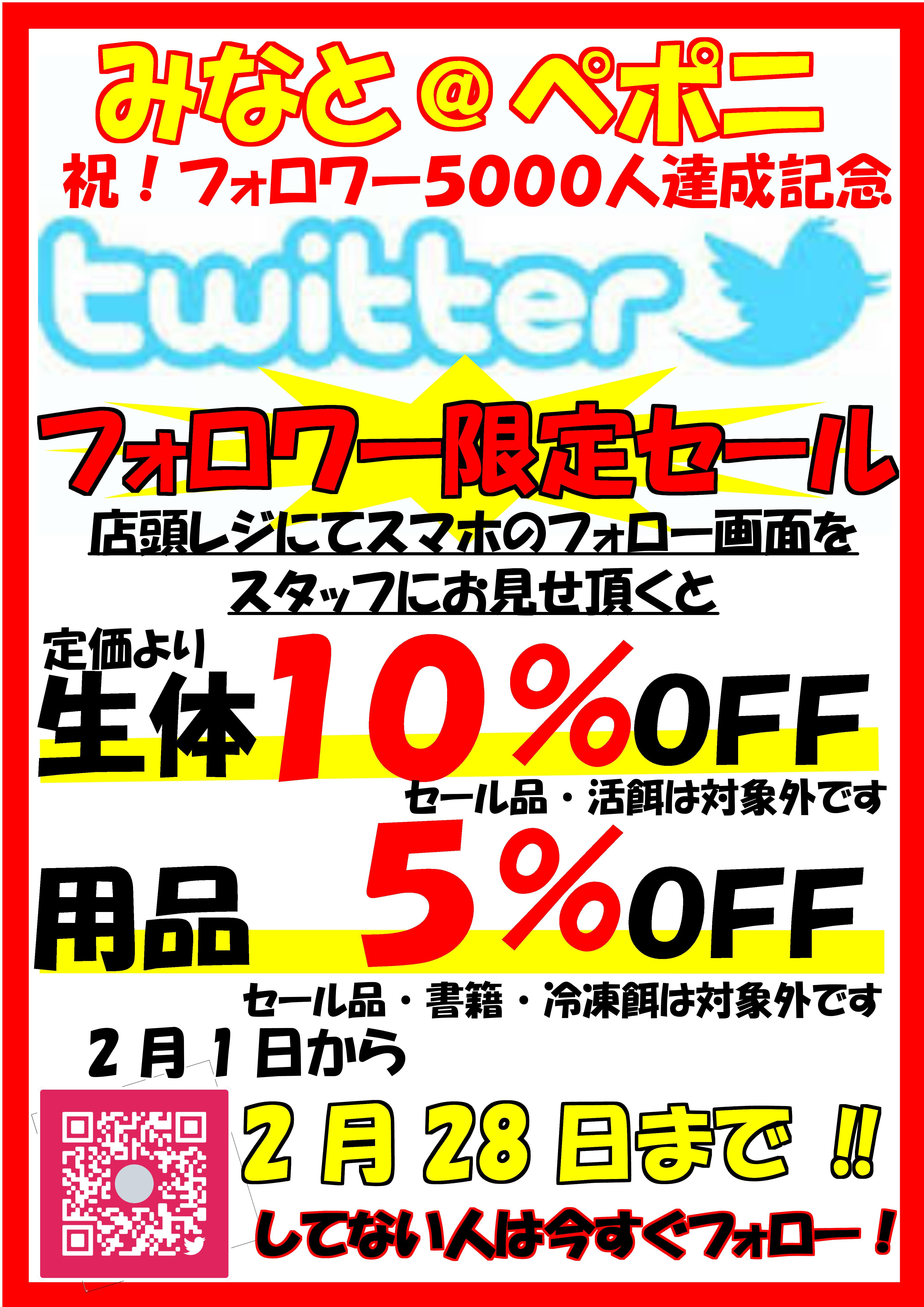 Twitterフォロワー5,000人記念!!!!!@みなとペポニ