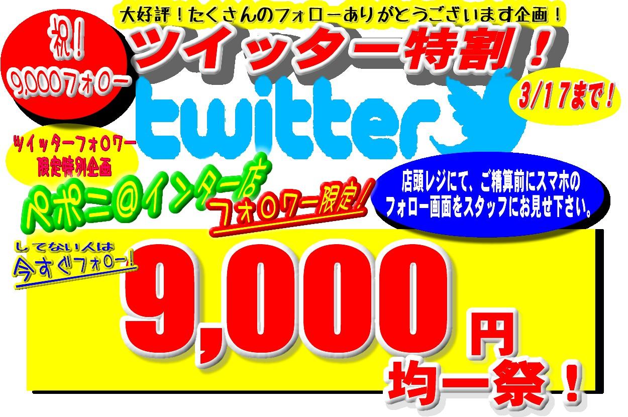 Twitterフォロワー 9,000人達成記念! ツイッター特割9,000円均一祭!