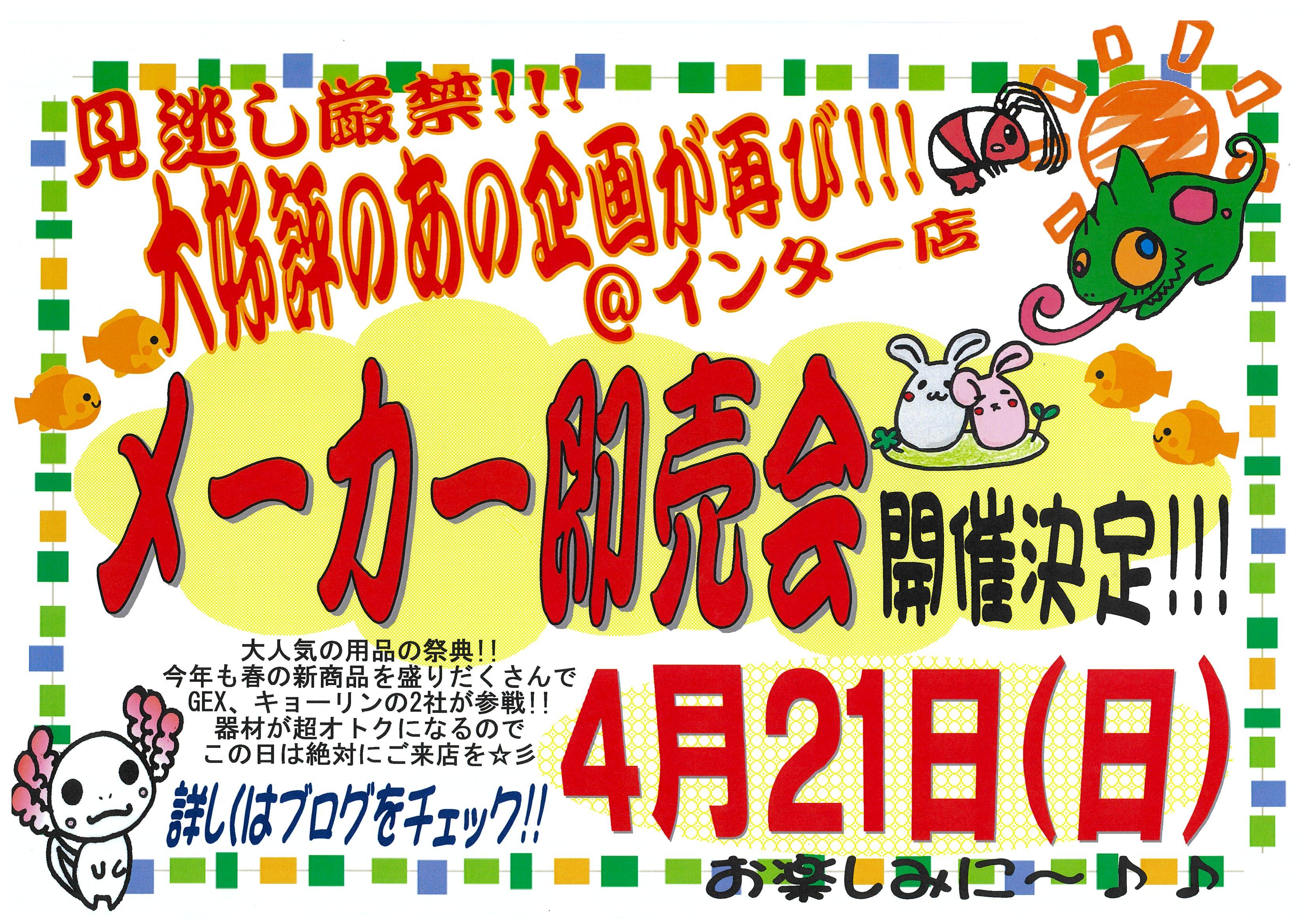 【インター小動物】インター店春のメーカー即売会は21日(日)‼️