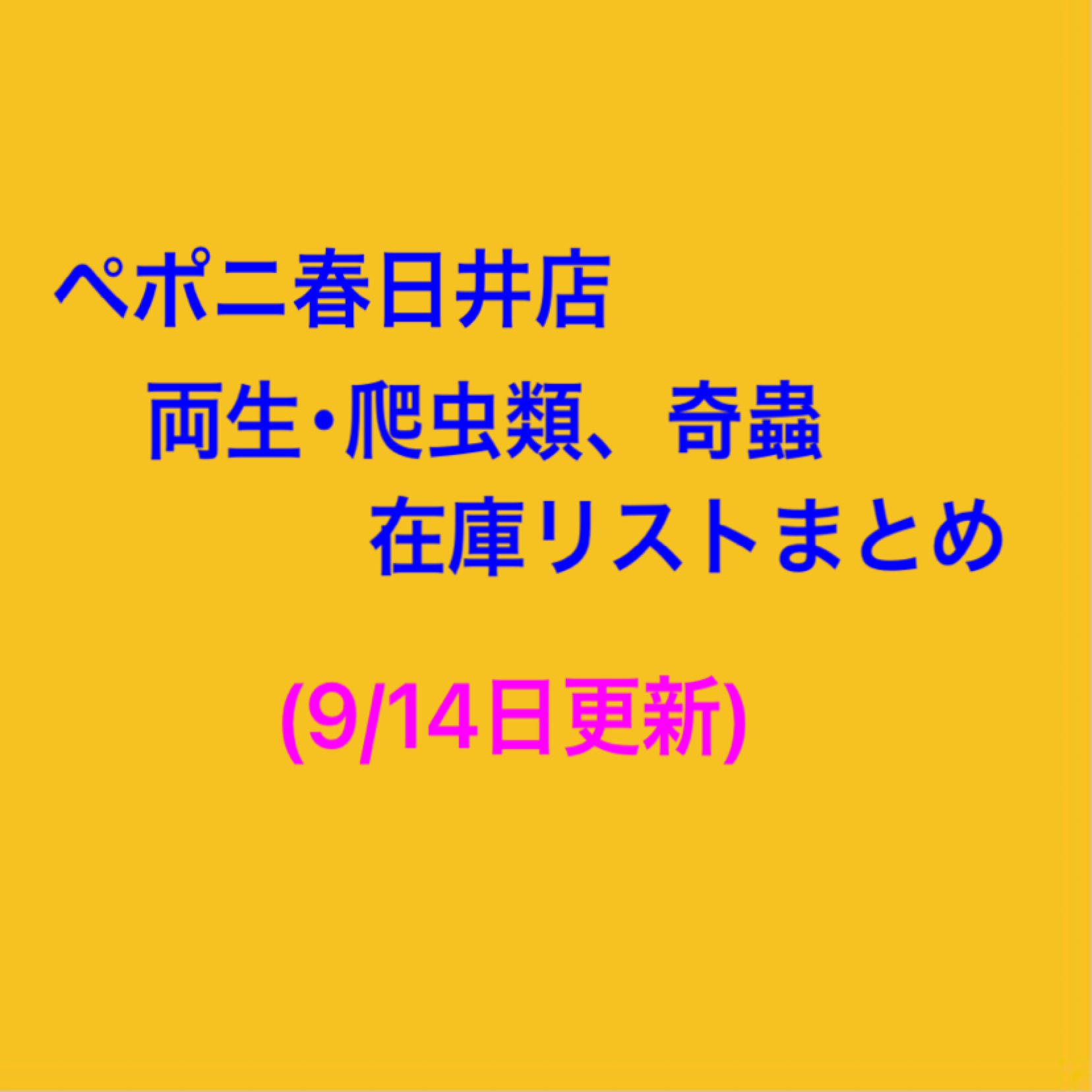 【春ペポニ】両生・爬虫類・奇蟲在庫リストまとめ(9/14更新)
